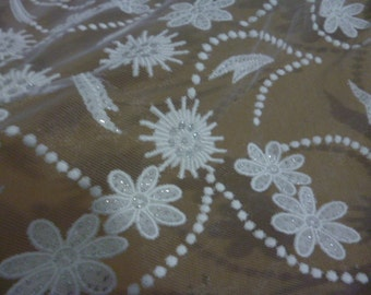 1yard  (160cm width 63inch)  , organza  flower lace fabric ,  doll dress diy sewing
