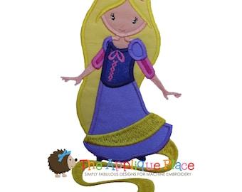 RaPuNZeL Applique Design , Instant Digital Download File for Machine Embroidery , 4X4 5X7 6X10 - Pretty Princess 9