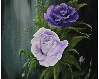 Roses  Purple Original Oil/Acrylic Painting Floral 12in x 16in