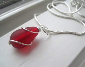 Red Sea Glass Necklace - Sea Glass Jewelry - Red Bridesmaid Necklace - Wire Wrapped Jewelry - Pendant Necklace - Red Jewelry