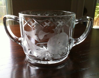 Vintage Etched Glass ABP Double Handled Sugar Bowl