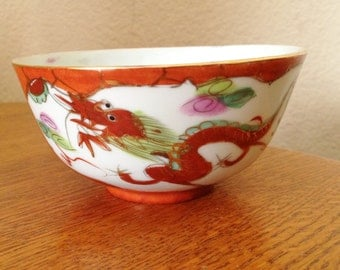 Vintage Hand Painted China Rice Bowl