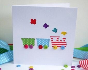 Train Card - Hand Cut Steam Train with Button Wheels -  Paper Handmade Greeting Card - Paper Cut Card - Train Birthday Card - Personalised