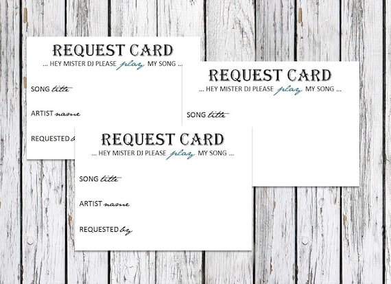 items similar to dj song request cards wedding party on etsy. Black Bedroom Furniture Sets. Home Design Ideas