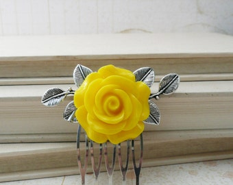 Yellow resin rose and silver leaves hair comb, No. H36