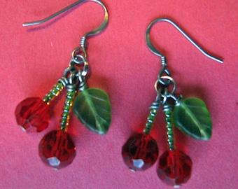 Cherry Earrings Red Swarovski Crystal Earrings Spring Jewelry Cherry Jewelry Rockabilly Jewelry
