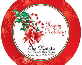 """Holiday Address Labels, Christmas Personalized Sticker Labels Size 2.25"""" Glossy Stickers"""
