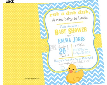 Baby Shower Ducky Invitations Printed - Personalized It's a Boy Invitations