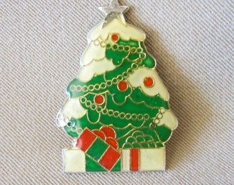 Vintage 80's Enameled Christmas Tree w/Gifts Pin, Red, Green & White Holiday Brooch, Fashion Jewelry, Scarf Pin, Ladies Gift, Secret Santa
