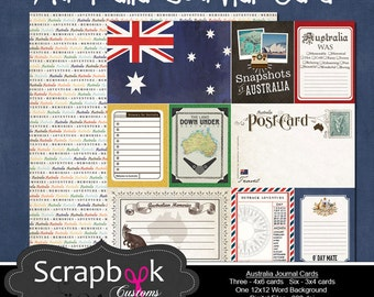 Australia Journal Cards. Digital Scrapbooking. Project Life. Instant Download.