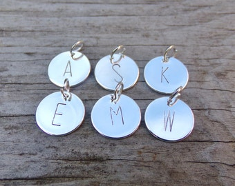 Hand Stamped 12mm Silver Plated Letter Charm With Open Jump Ring