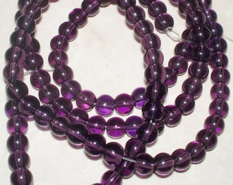 4MM Grape Clear Glass Beads