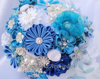 """Fabric Wedding Bouquet, brooch bouquet """"Blue Lagoon"""", Blue, Turquoise, White and Royal blue"""