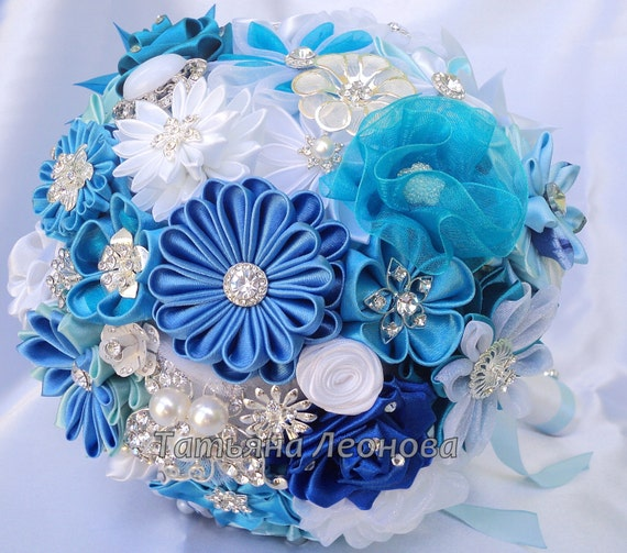 "Fabric Wedding Bouquet, brooch bouquet ""Blue Lagoon"", Blue, Turquoise, White and Royal blue"