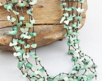 Green River Necklace - Aventurine Chip Stone Multi Strand Necklace