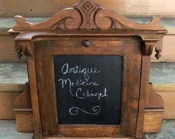Antique vintage wood cabinet chalkboard rustic look wedding display