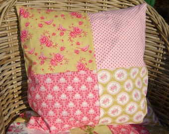 Patchwork Tilda pillow cover in spring colours