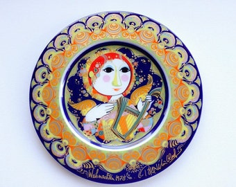 Rosenthal Bjorn Wiinblad Limited Edition Christmas wall plate 1978 - Angel with Harp