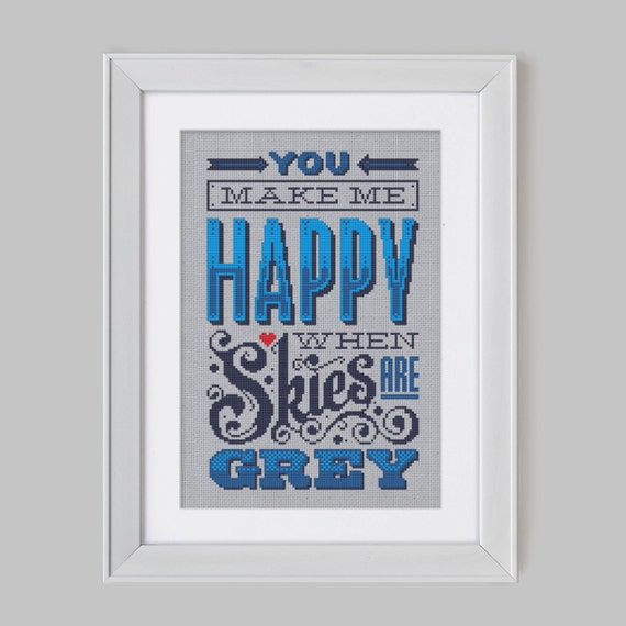 Happy when Skies are Grey - Cross Stitch Pattern (Digital Format - PDF)