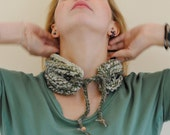 handmade crochet  wool, neck warmer, scarf, mix color green beige brown - KnittingInTheKitchen