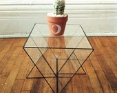 Triangular glass display case