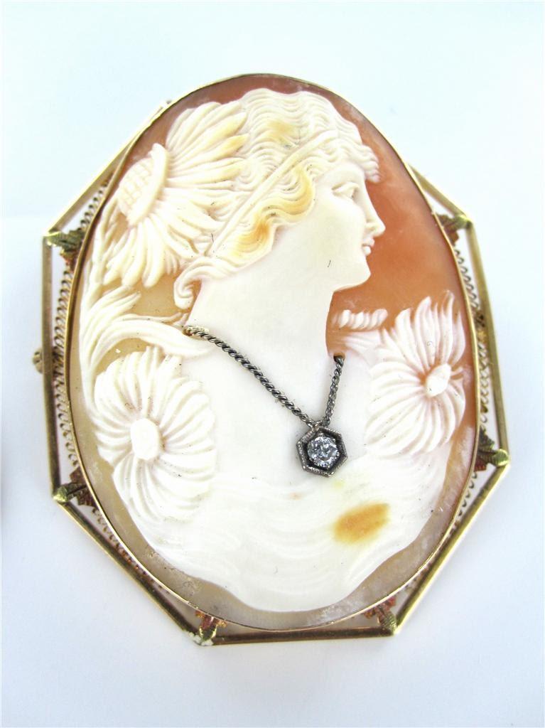 14kt 14k Gold Cameo Pin Brooch Antique Filigree Lady Shell
