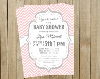 Vintage Pink Chevron with Gray Baby Shower Invitation, Custom Digital File, Printable