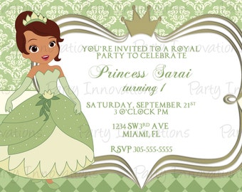 Printable  Princess Tiana Birthday Party Invitation
