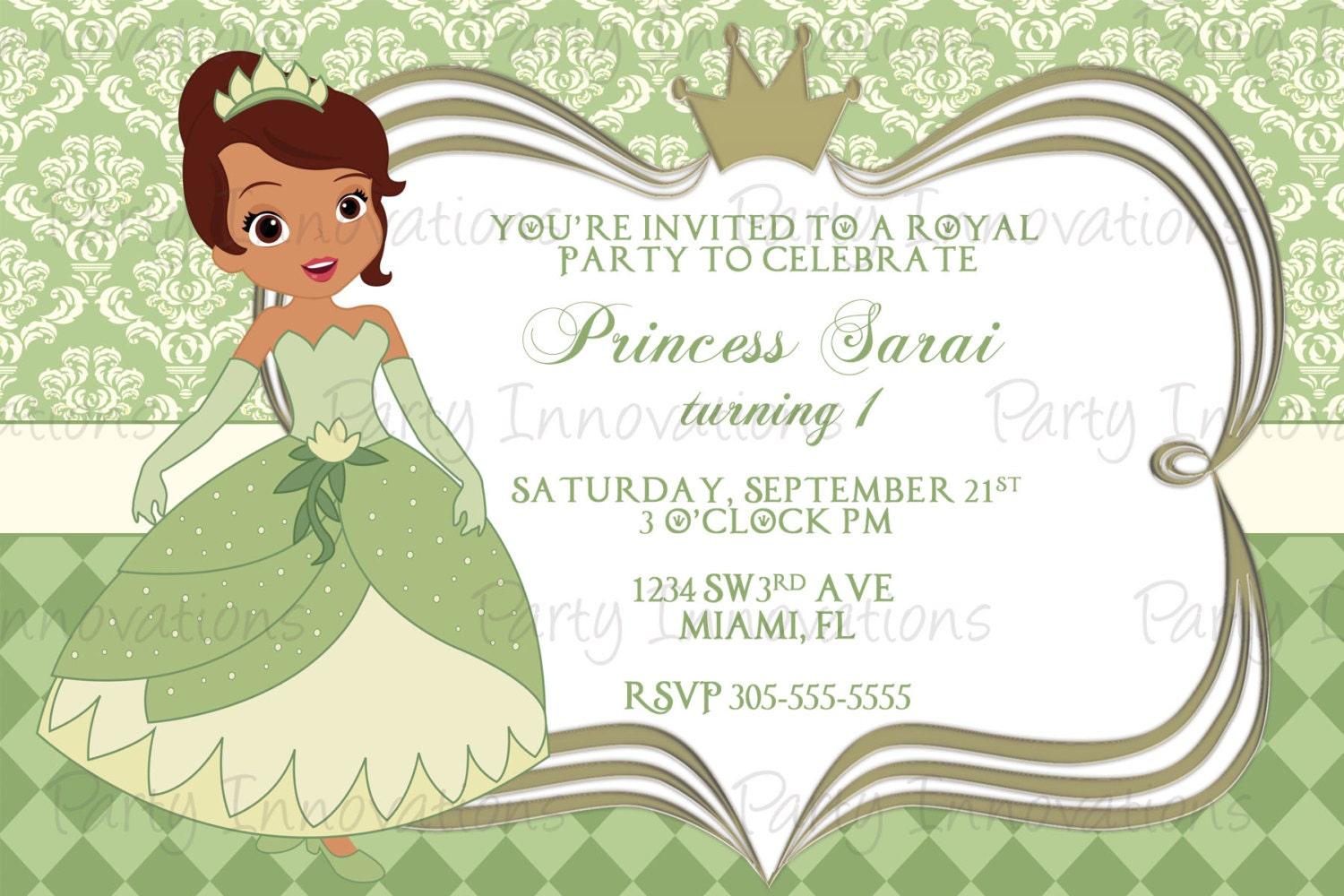 Printable Princess Tiana Birthday Party Invitation – Princess Tiana Party Invitations