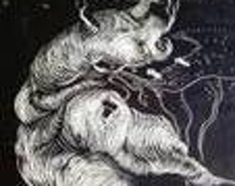 Spore, drawing etching style, small digital download.  Small.