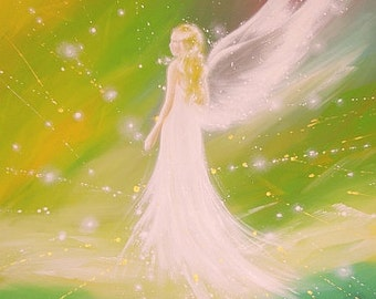 """A- R- T  ANGEL ART POSTER, Guardian angel painting """"Always at your side""""Wall Decor, also for frame,Angel Wings Gift,Baptism,Wedding,Birthday"""