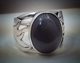 12 x 15mm banded agate sterling silver ring