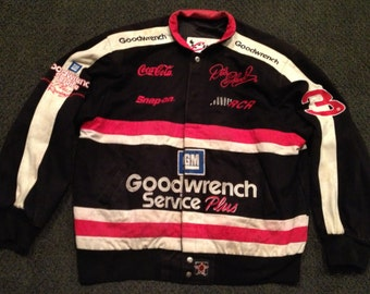 Vintage Mens Dale Earnhardt 3 Goodwrench Service Plus Nascar Racing Race Issued Button Jacket Size L