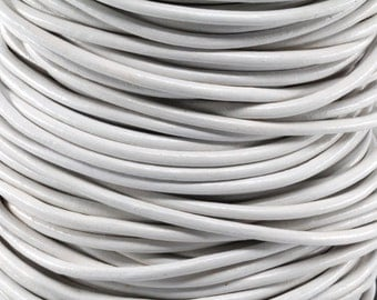 10 Meters of 3MM White Round Leather Cord (10 Yards) (10m)