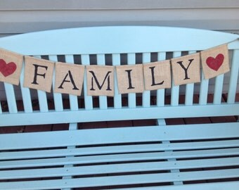 Burlap Family Banner - Holiday Family Banner