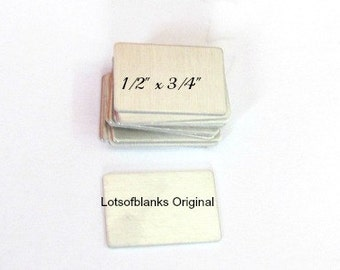 Rectangle Metal Blanks - 1/2 x 3/4 - 20G Aluminum -  Premium- Original  Punch - Tumbled Blanks Hand Stamping blanks - DIY Blanks -  Supplies