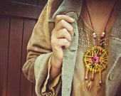 Dreamcatcher boho NECKLACE, mustard native handmade big necklace, feathers and wood