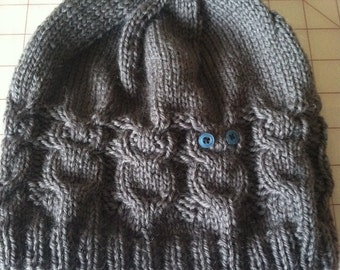 Custom Knit Hat with Adorable Owl Cable