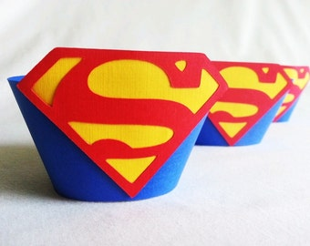 Superman or Supergirl Cupcake Wrappers 12 count, Superman birthday party supergirl birthday party