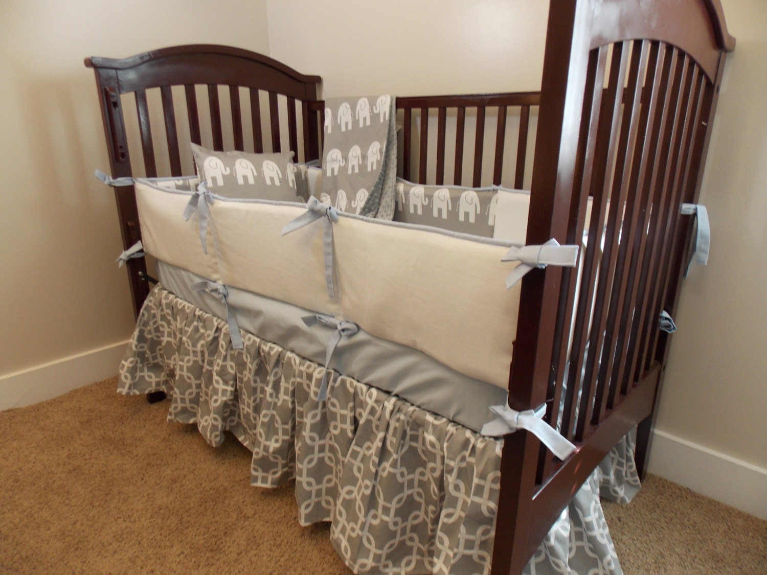 Custom 3 piece Bedding Grey Mist Blue Light by ...
