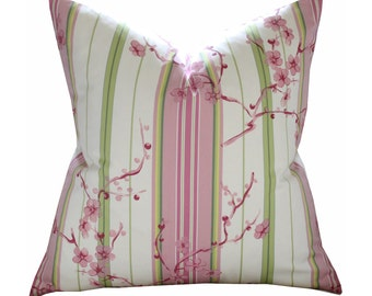 "20"" Etamine Cherry Blossom Stripe Pillow Cover in Pink"