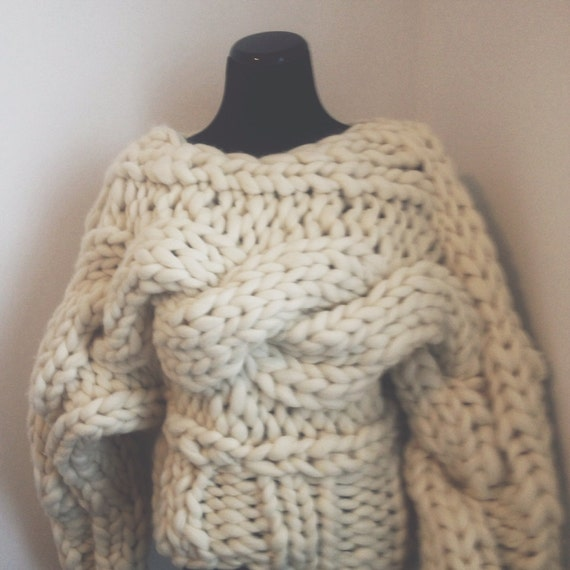 Knitting Patterns For Chunky Wool Sweaters : big twist pullover // super chunky wool sweater // by Woolshack