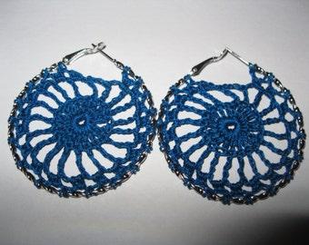 Blue Crochet Hoop Earrings
