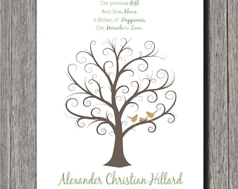 Baby Shower Fingerprint Tree -  24x36 - Guest Book Tree - NB - 250 Fingerprints
