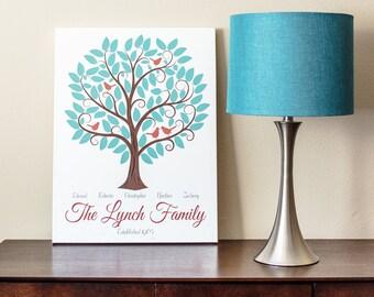 Family Tree Artwork Personalized - 11x14 - Custom Family Tree Gift
