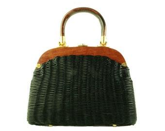 Vintage Black Plastic Wicker Frame Bag