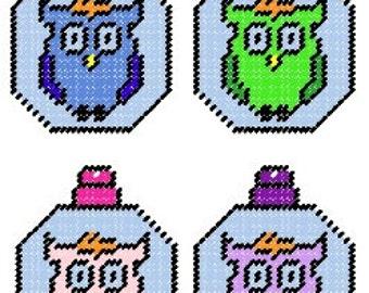 Owl Plastic Canvas Ornament Set Pattern