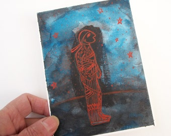 """Acrylic on watercolor paper. Original painting. """"With stars IV"""". 5,5x4 inch (14x10 cm) OOAK"""