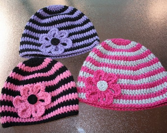 Crochet Striped Beanie with or without flower. Crochet Striped hat. Handmade to order.