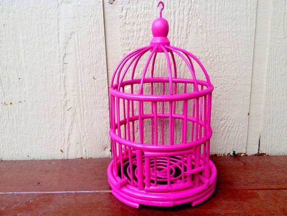 Hot Pink Bird Cage Pink Home Decor Teen Room Decor Chic-2474
